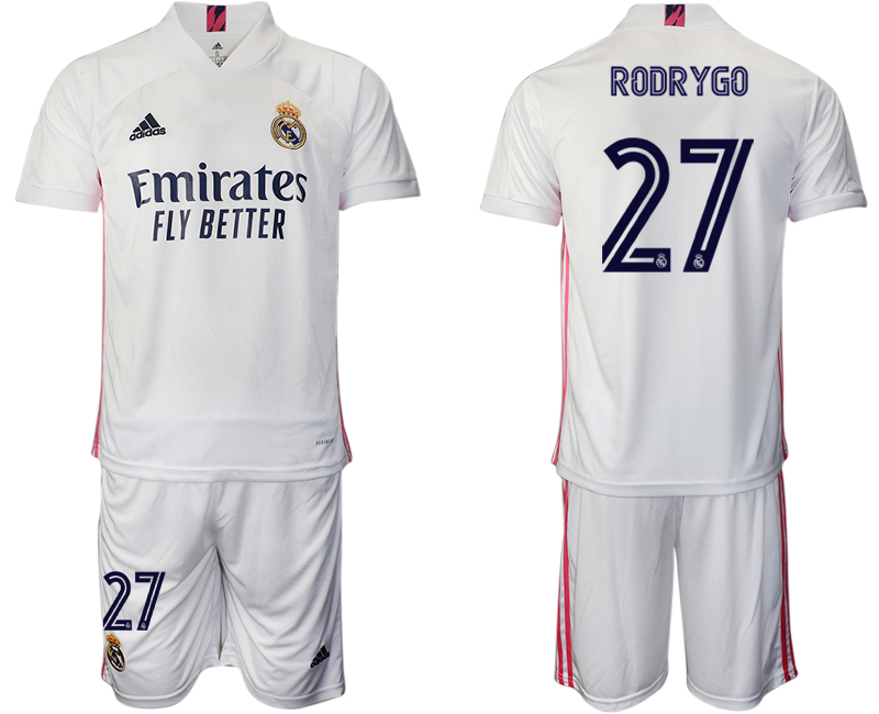 Wholesale Men 2020-2021 club Real Madrid home 27 white Soccer Jerseys