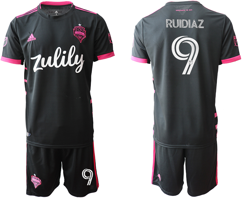 Cheap Men 2020-2021 club Seattle Sounders away 9 black Soccer Jerseys
