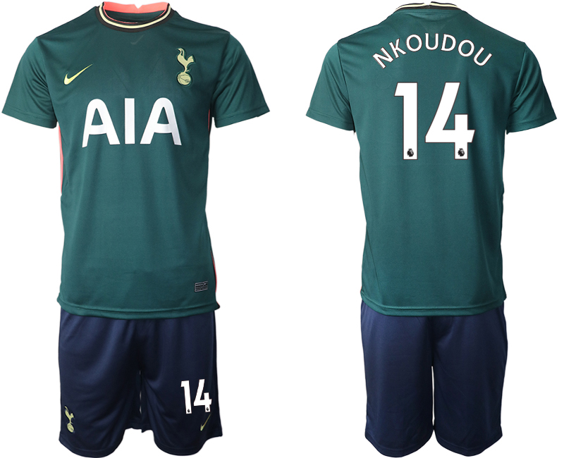 Wholesale Men 2020-2021 club Tottenham away 14 green Soccer Jerseys
