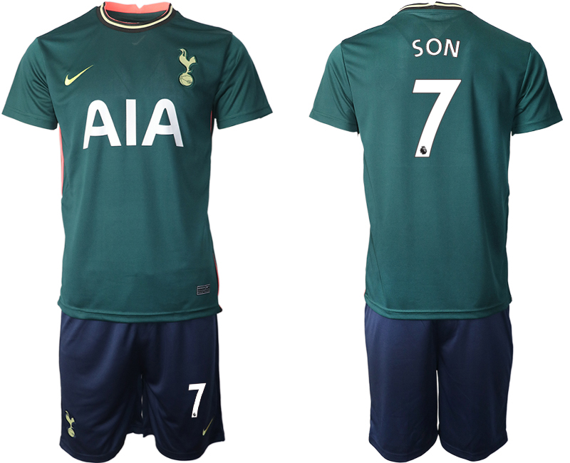 Wholesale Men 2020-2021 club Tottenham away 7 green Soccer Jerseys