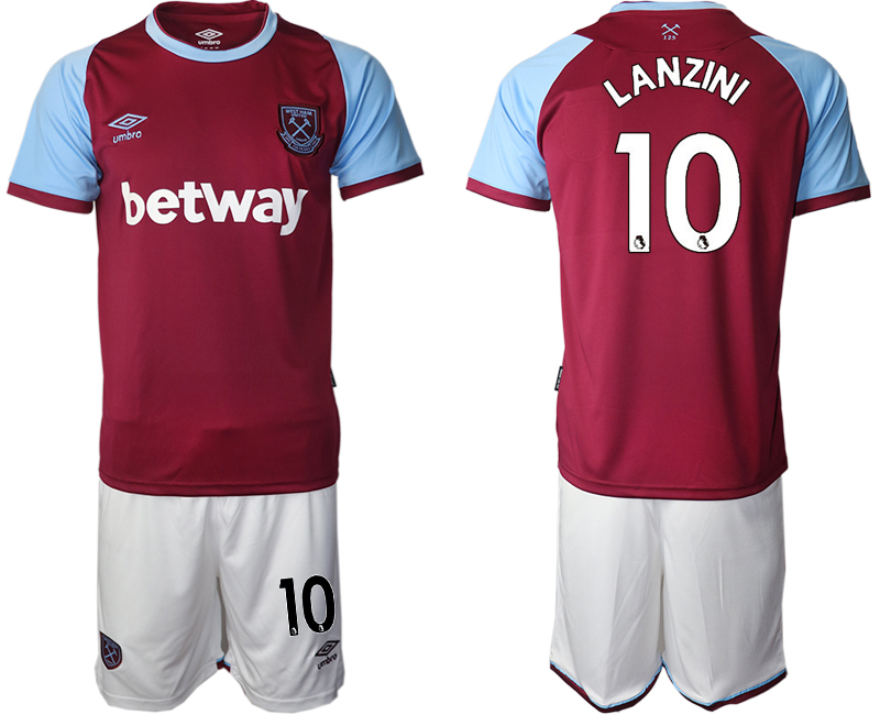 Wholesale Men 2020-2021 club West Ham United home 10 red Soccer Jerseys
