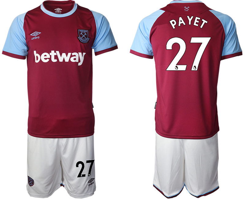 Wholesale Men 2020-2021 club West Ham United home 27 red Soccer Jerseys