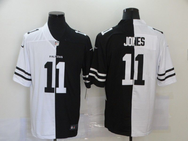 Wholesale Men Atlanta Falcons 11 Jones Black white Half version 2020 Nike NFL Jerseys