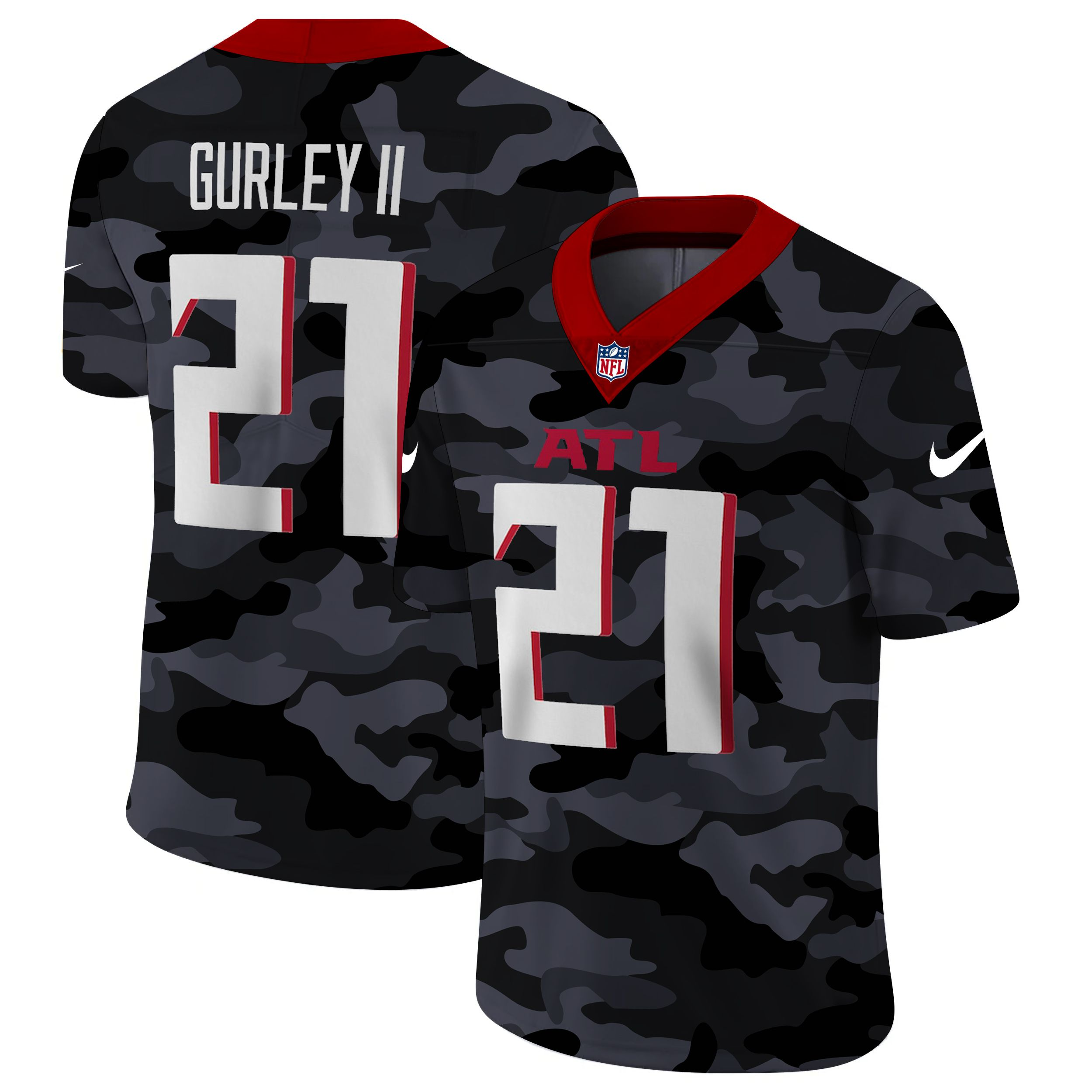 Cheap Men Atlanta Falcons 21 Gurley II 2020 Nike 2ndCamo Salute to Service Limited NFL Jerseys