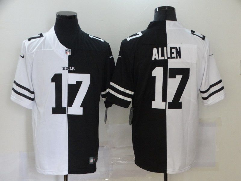 Wholesale Men Buffalo Bills 17 Allen Black white Half version 2020 Nike NFL Jerseys