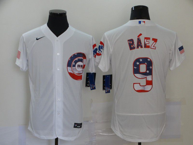 Cheap Men Chicago Cubs 9 Baez White 2020 Elite MLB Jerseys