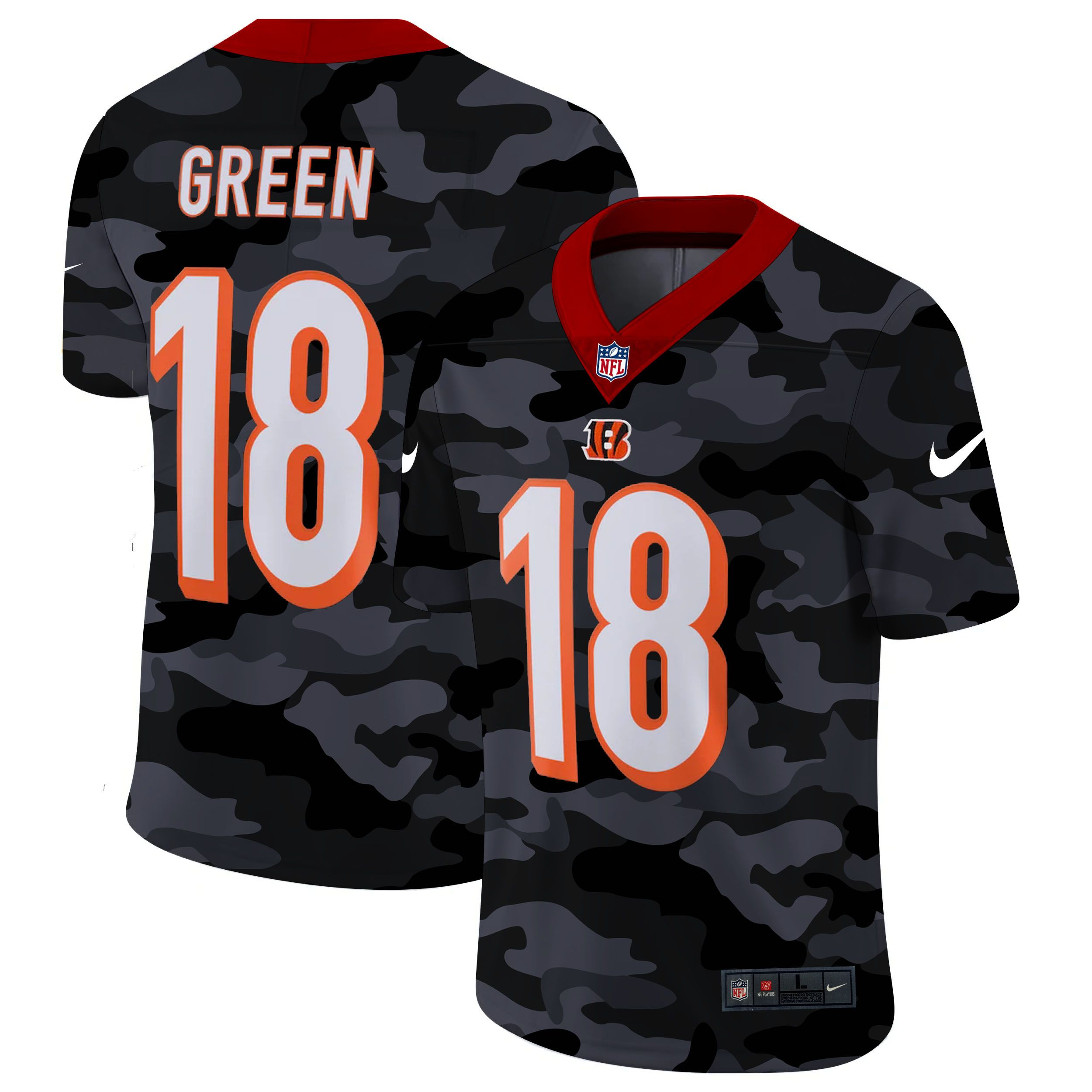 Cheap Men Cincinnati Bengals 18 Green 2020 Nike Camo Salute to Service Limited NFL Jerseys