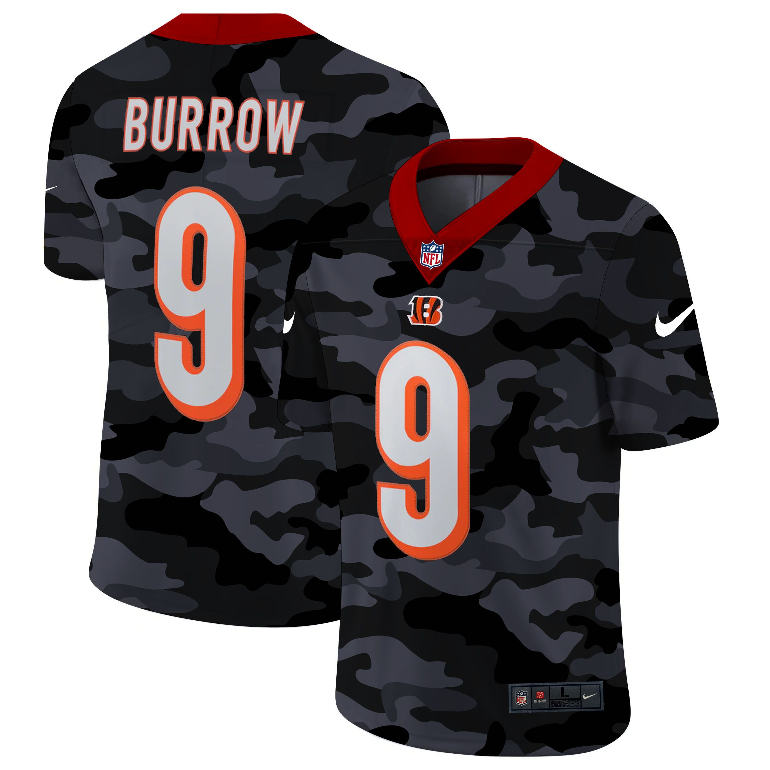 Cheap Men Cincinnati Bengals 9 Burrow 2020 Nike Camo Salute to Service Limited NFL Jerseys
