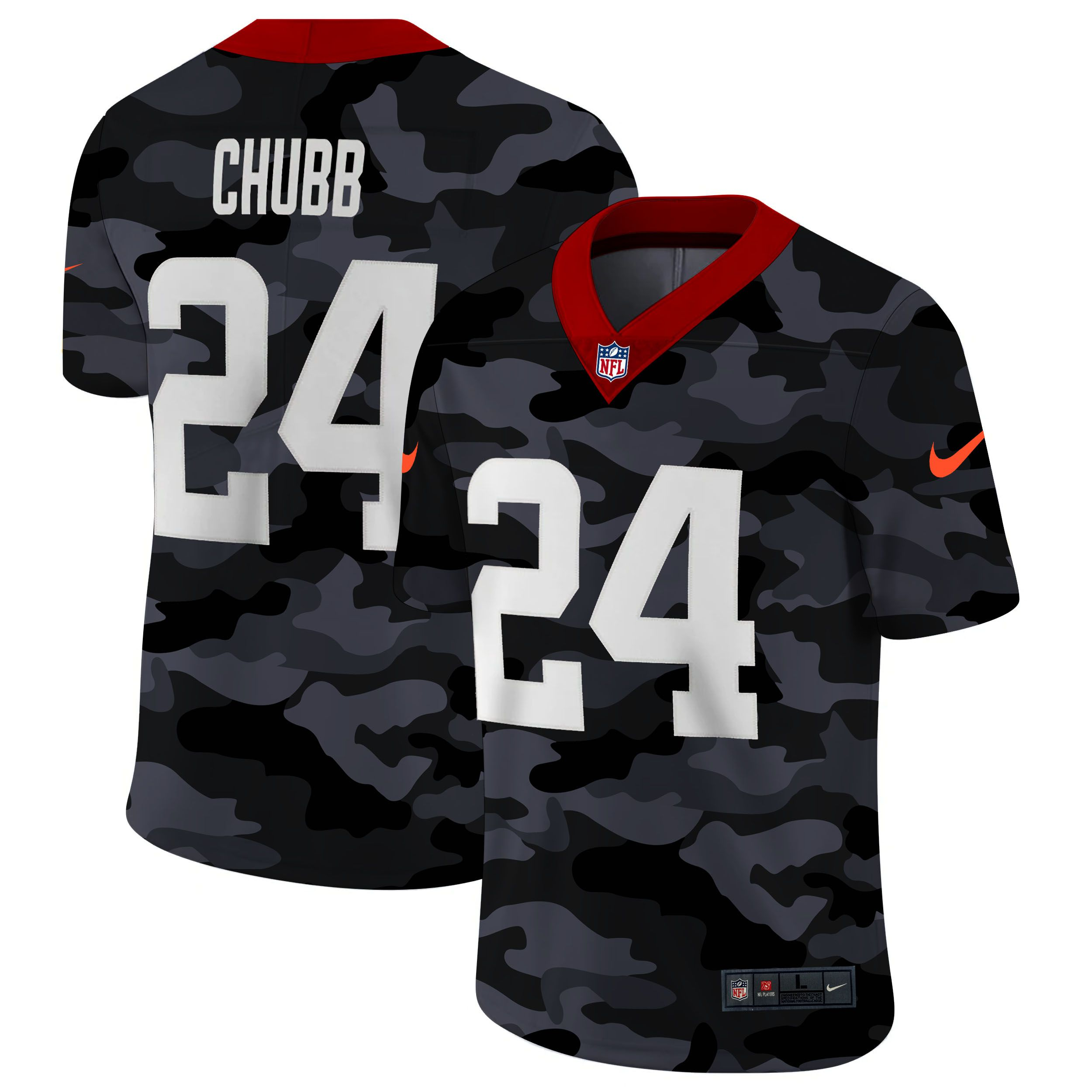 Wholesale Men Cleveland Browns 24 Chubb 2020 Nike Camo Salute to Service Limited NFL Jerseys