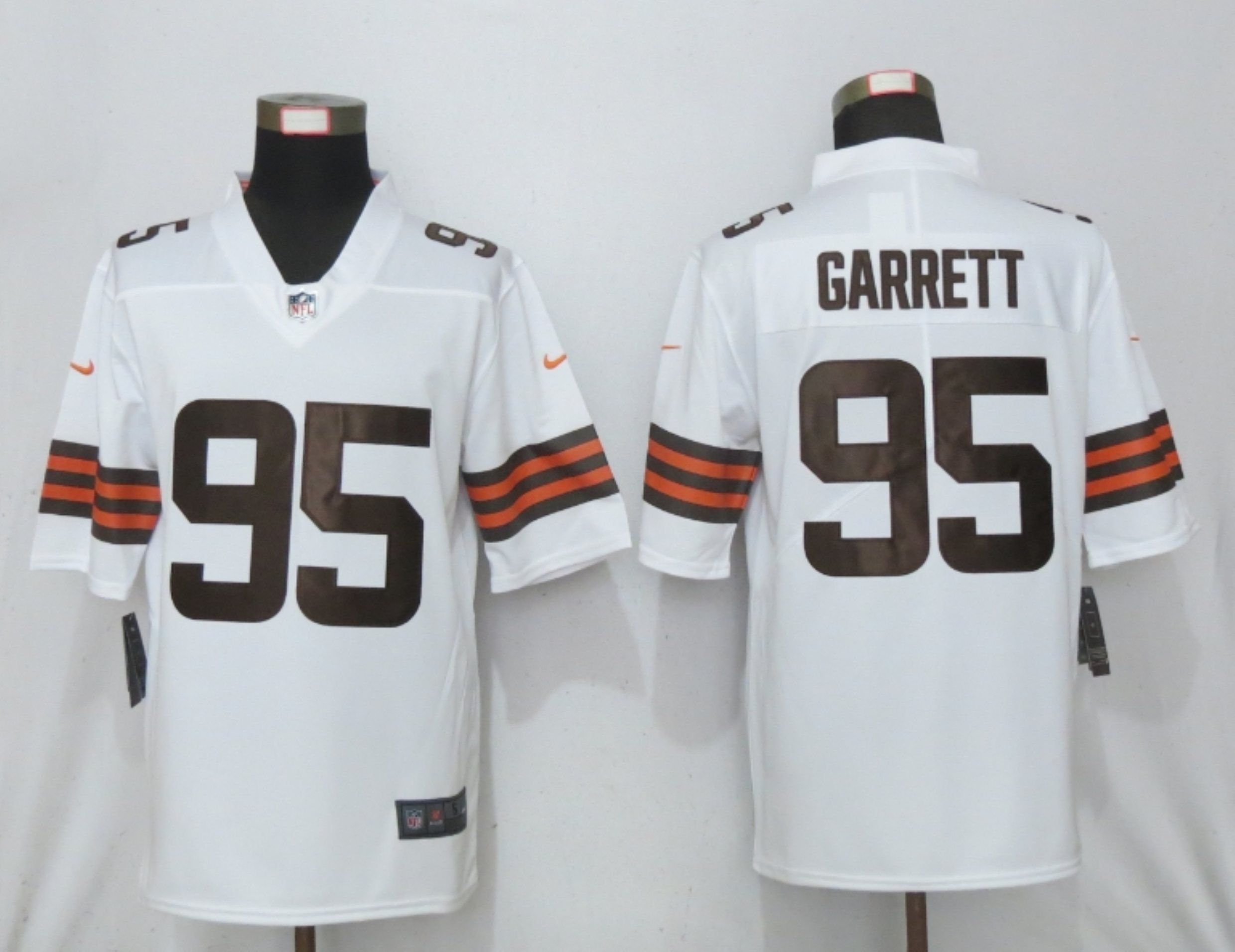 Wholesale Men Cleveland Browns 95 Garrett White Vapor Limited Player Nike NFL Jersey