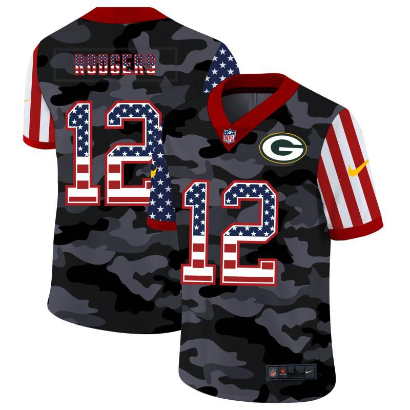 Cheap Men Green Bay Packers 12 Rodgers 2020 Nike USA Camo Salute to Service Limited NFL Jerseys