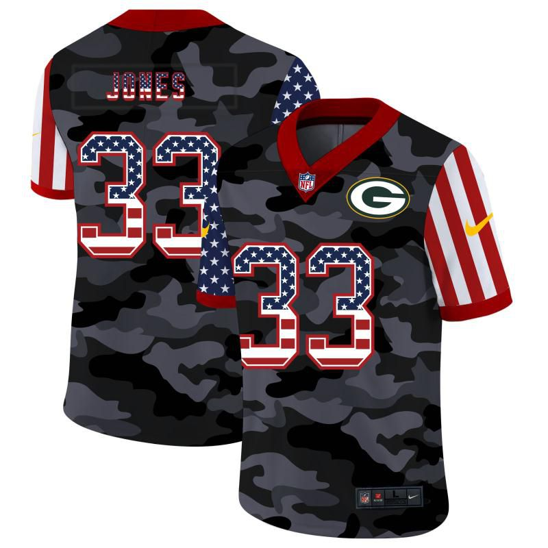 Cheap Men Green Bay Packers 33 Jones 2020 Nike Camo USA Salute to Service Limited NFL Jerseys