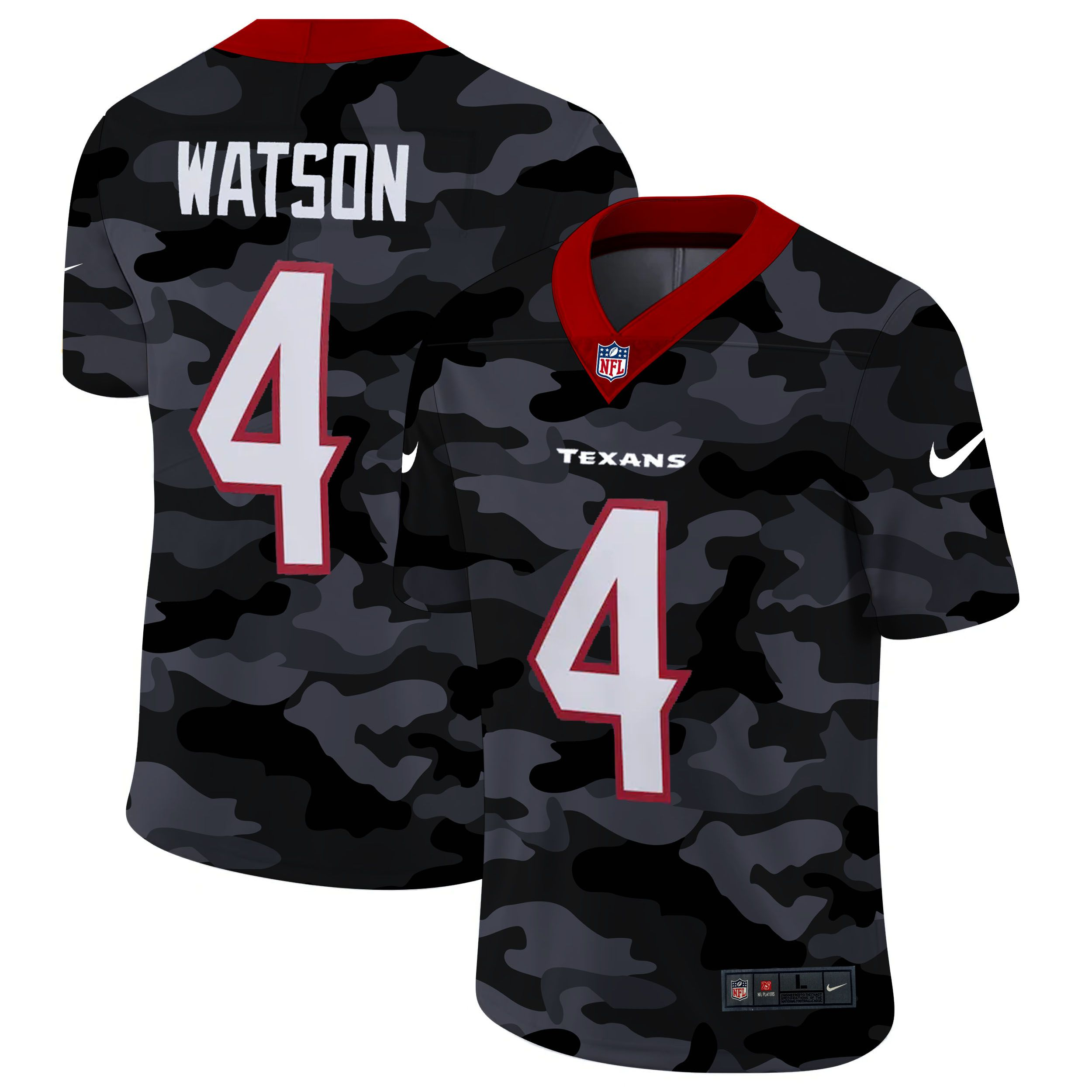 Cheap Men Houston Texans 4 Watson 2020 Nike Camo Salute to Service Limited NFL Jerseys