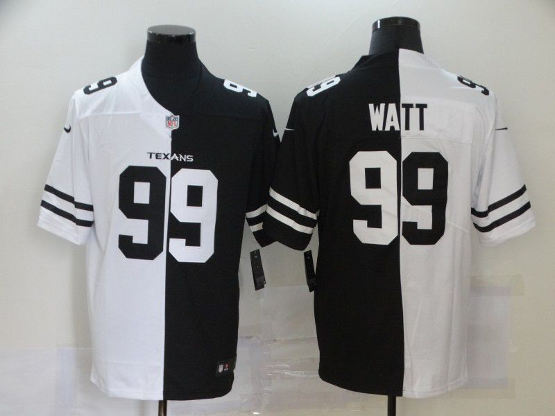 Wholesale Men Houston Texans 99 Watt Black white Half version 2020 Nike NFL Jerseys