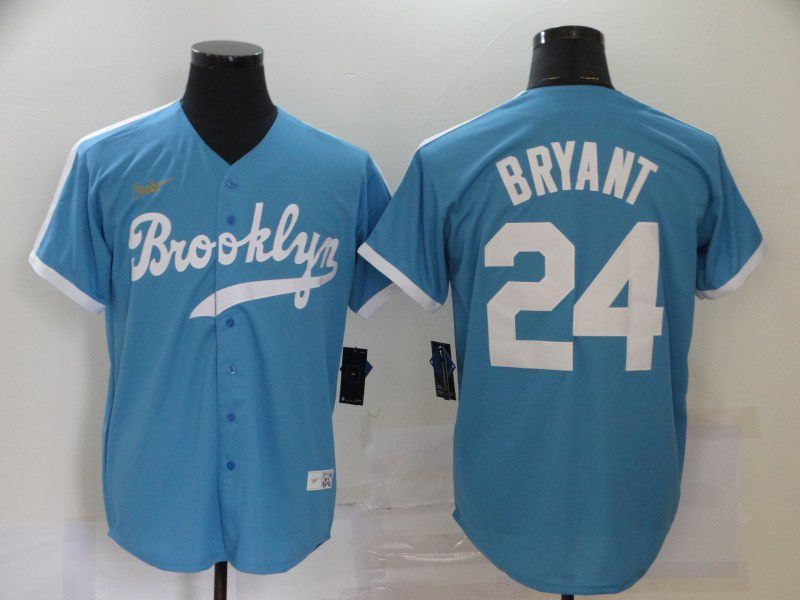 Cheap Men Los Angeles Dodgers 24 Bryant Light Blue Throwback Game 2020 MLB Nike Jerseys