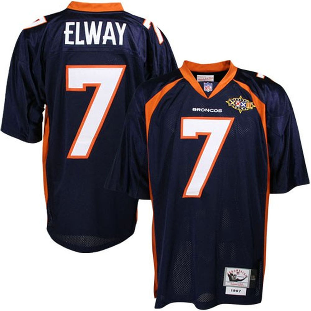 Cheap Men Mitchell Ness Denver Broncos 7 John Elway Blue 75th Patch Throwback NFL Jersey