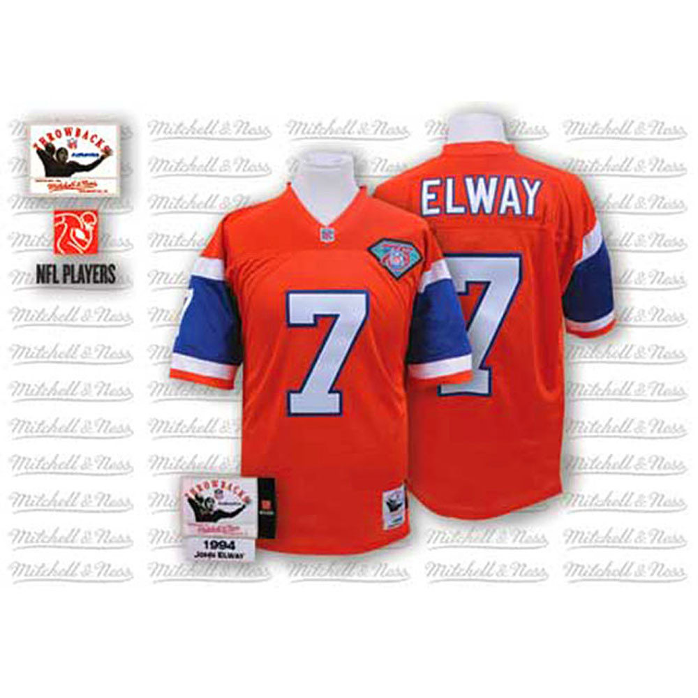 Cheap Men Mitchell Ness Denver Broncos 7 John Elway Orange 75th Patch Throwback NFL Jersey