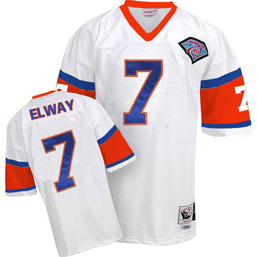 Men Mitchell Ness Denver Broncos 7 John Elway White 75th Patch Throwback NFL Jersey