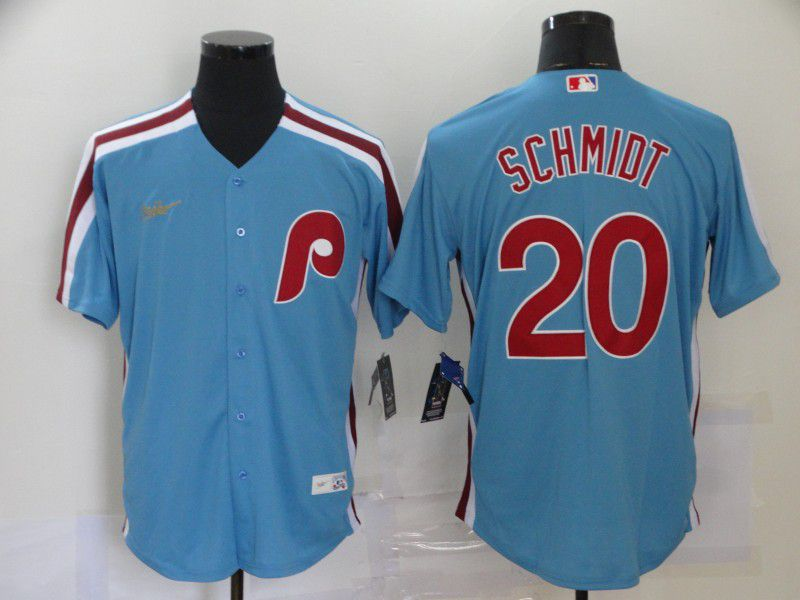 Wholesale Men Montreal Expos 20 Schmidt Blue Throwback Game MLB Jerseys