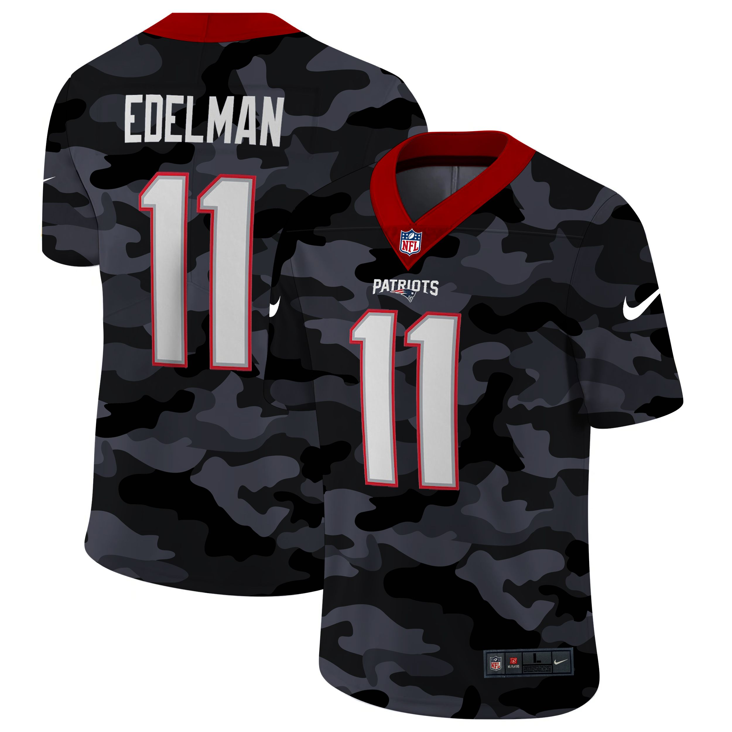 Wholesale Men New England Patriots 11 Edelman 2020 Nike Camo Salute to Service Limited NFL Jerseys