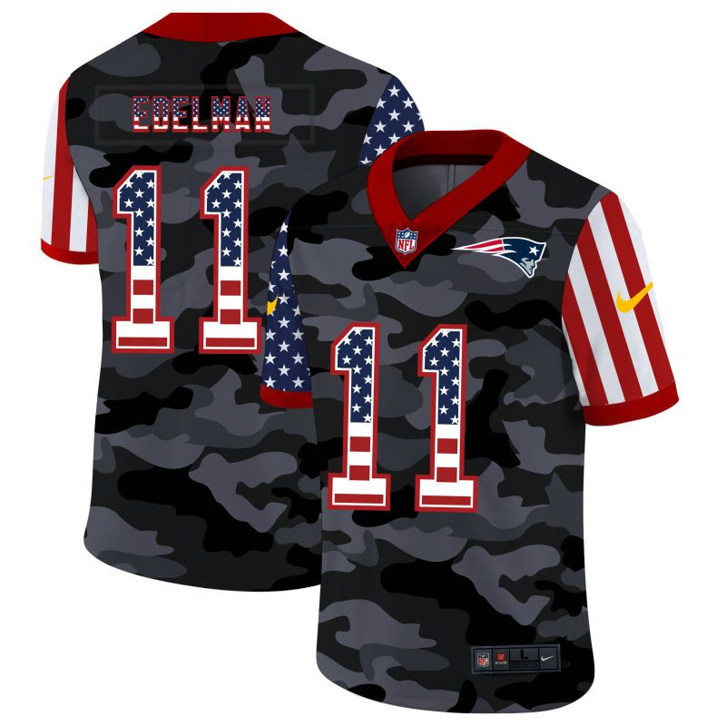 Wholesale Men New England Patriots 11 Edelman 2020 Nike USA Camo Salute to Service Limited NFL Jerseys