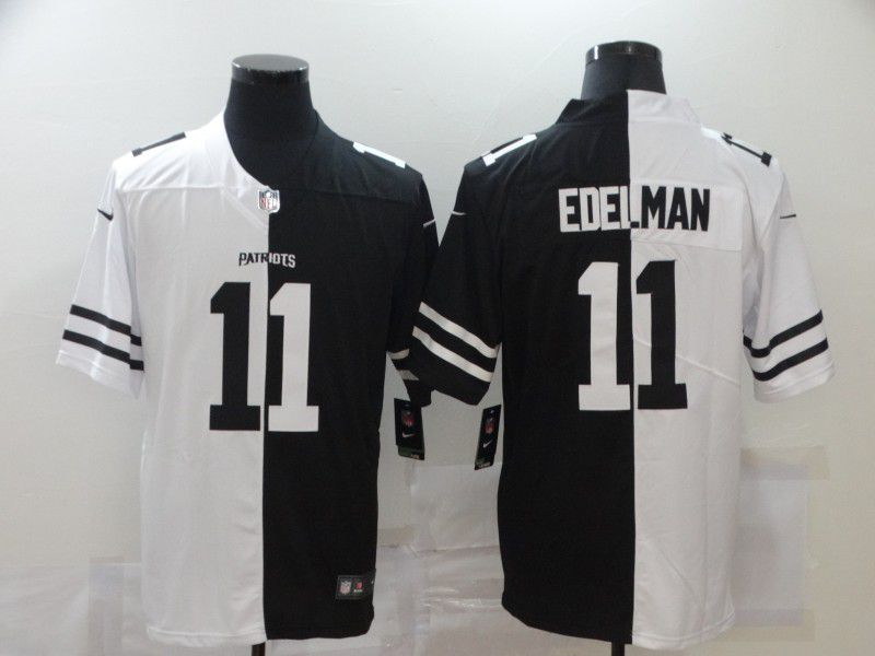 Wholesale Men New England Patriots 11 Edelman Black white Half version 2020 Nike NFL Jerseys