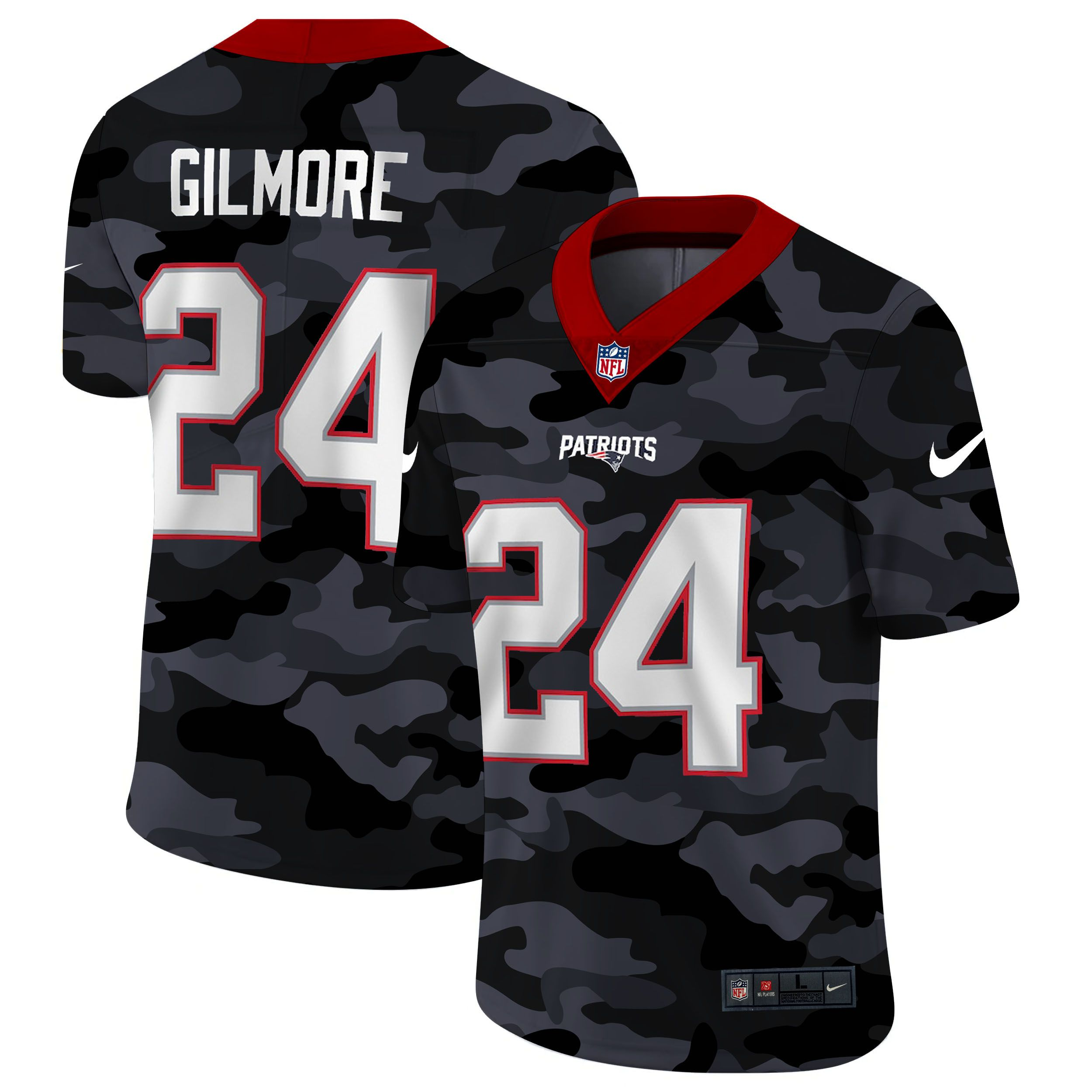 Wholesale Men New England Patriots 24 Gilmore 2020 Nike Camo Salute to Service Limited NFL Jerseys