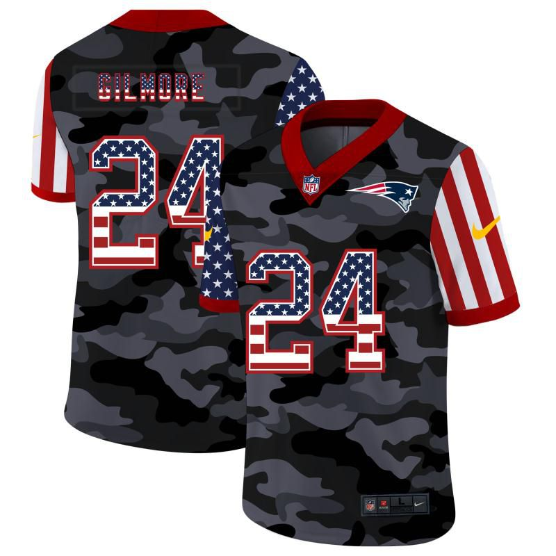 Wholesale Men New England Patriots 24 Gilmore 2020 Nike USA Camo Salute to Service Limited NFL Jerseys