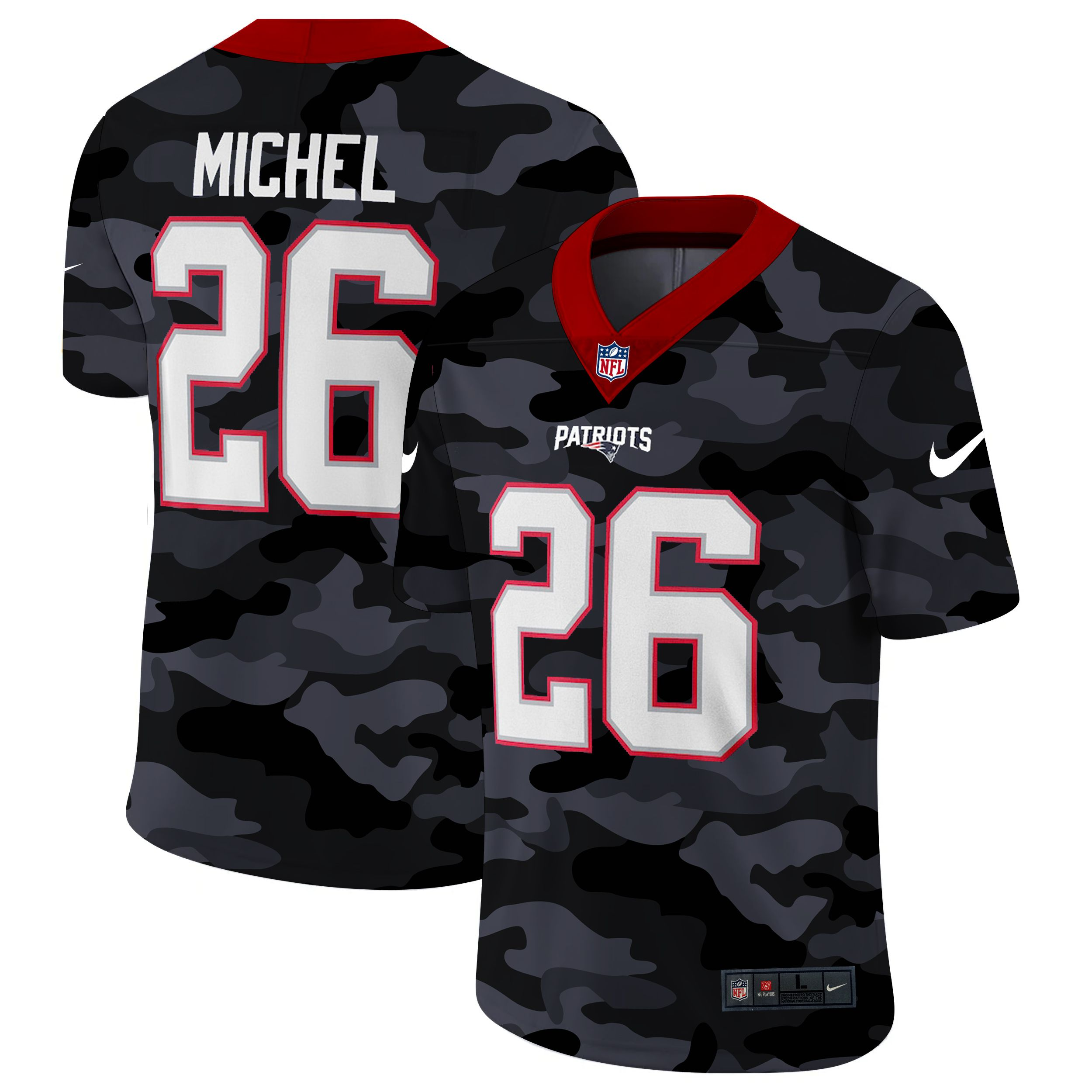 Wholesale Men New England Patriots 26 Michel 2020 Nike Camo Salute to Service Limited NFL Jerseys
