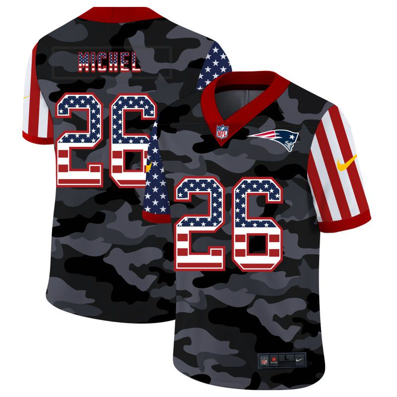 Wholesale Men New England Patriots 26 Michel 2020 Nike USA Camo Salute to Service Limited NFL Jerseys