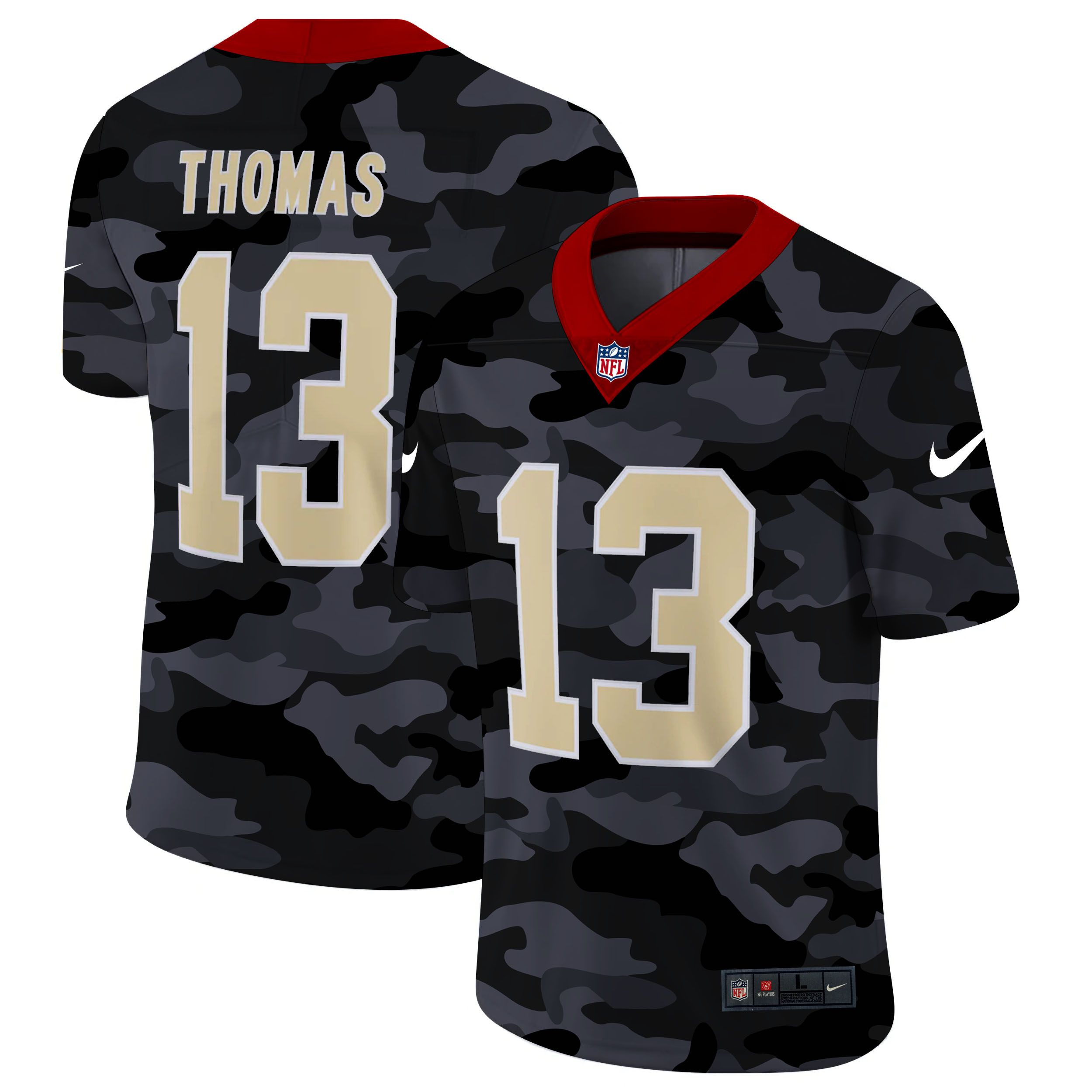 Wholesale Men New Orleans Saints 13 Thomas 2020 Nike 2ndCamo Salute to Service Limited NFL Jerseys