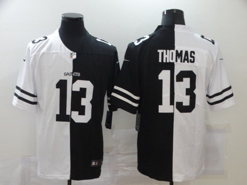 Wholesale Men New Orleans Saints 13 Thomas Black white Half version 2020 Nike NFL Jerseys