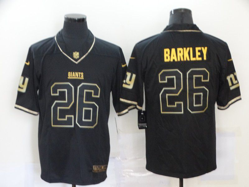 Cheap Men New York Giants 26 Barkley Black Retro gold lettering Nike NFL Jersey
