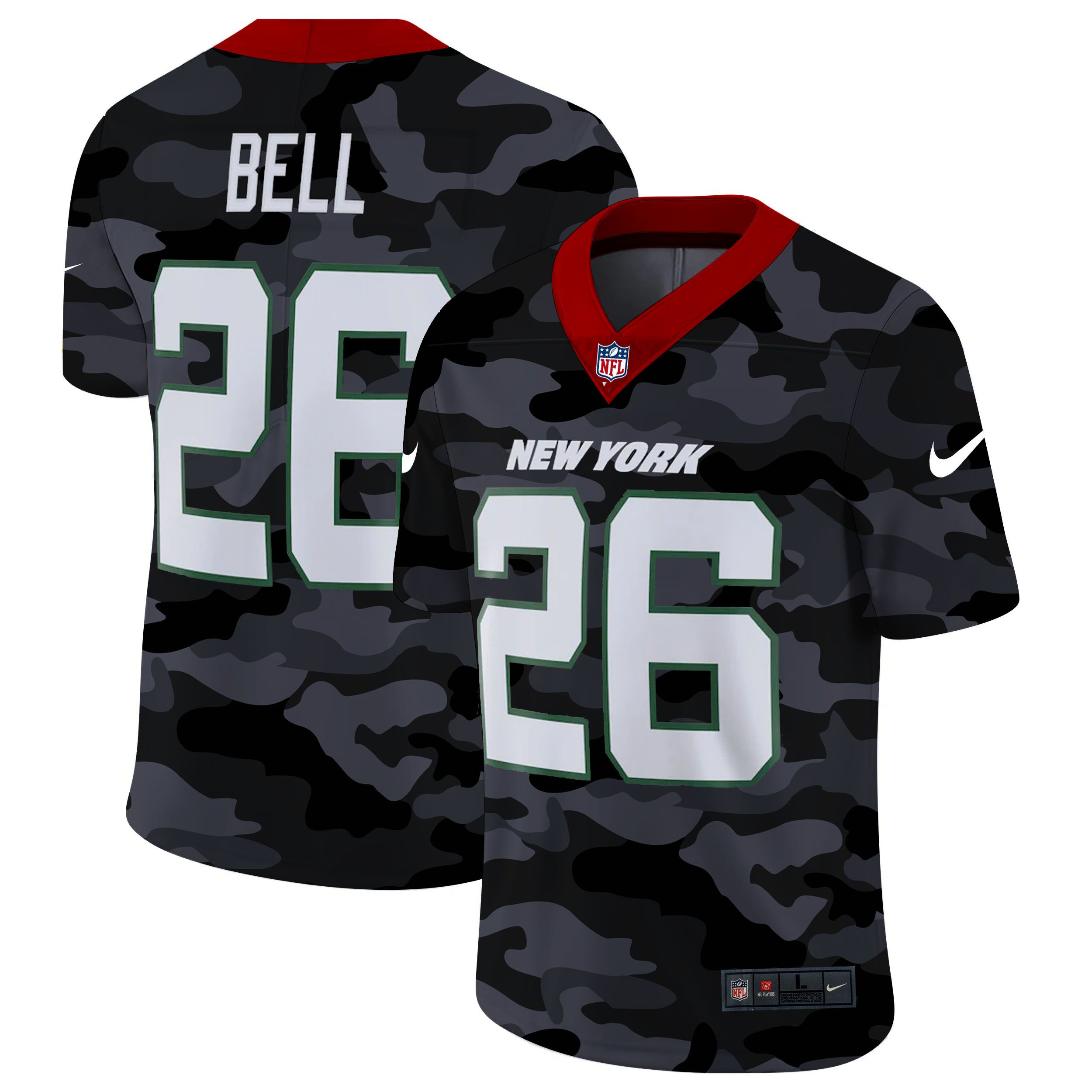 Wholesale Men New York Jets 26 Bell 2020 Nike Camo Salute to Service Limited NFL Jerseys