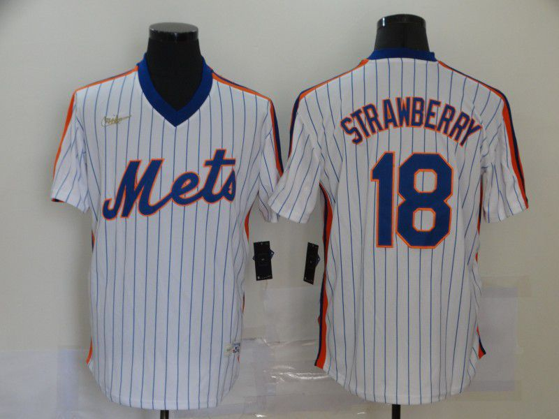 Wholesale Men New York Mets 18 Strawberry White Throwback Nike MLB Jerseys
