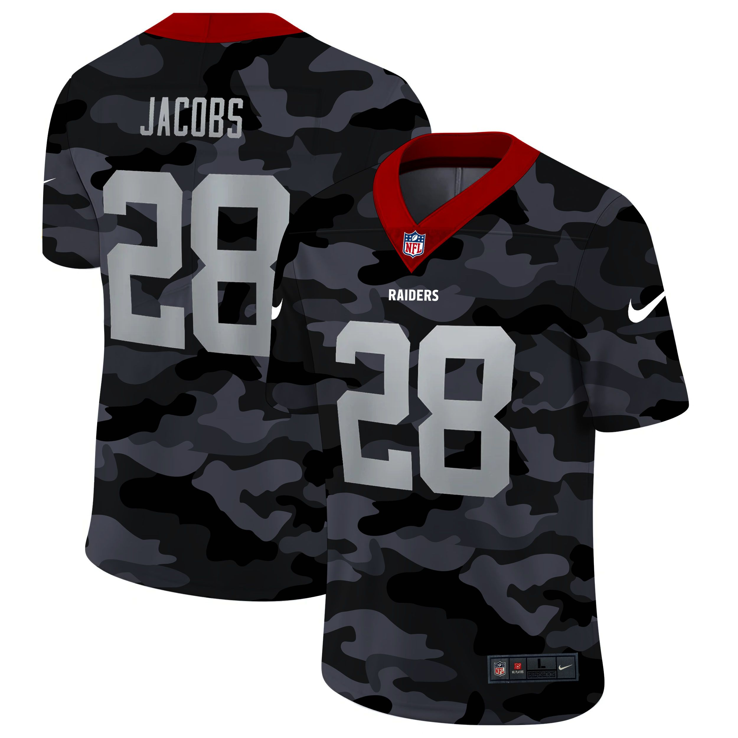 Wholesale Men Oakland Raiders 28 Jacobs 2020 Nike 2ndCamo Salute to Service Limited NFL Jerseys