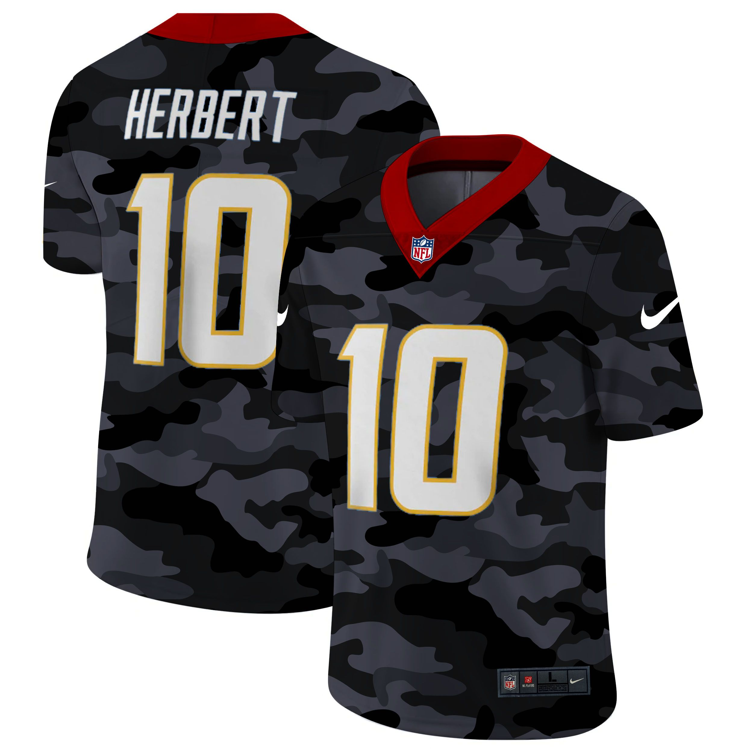 Wholesale Men San Diego Chargers 10 Herbert 2020 Nike 2ndCamo Salute to Service Limited NFL Jerseys