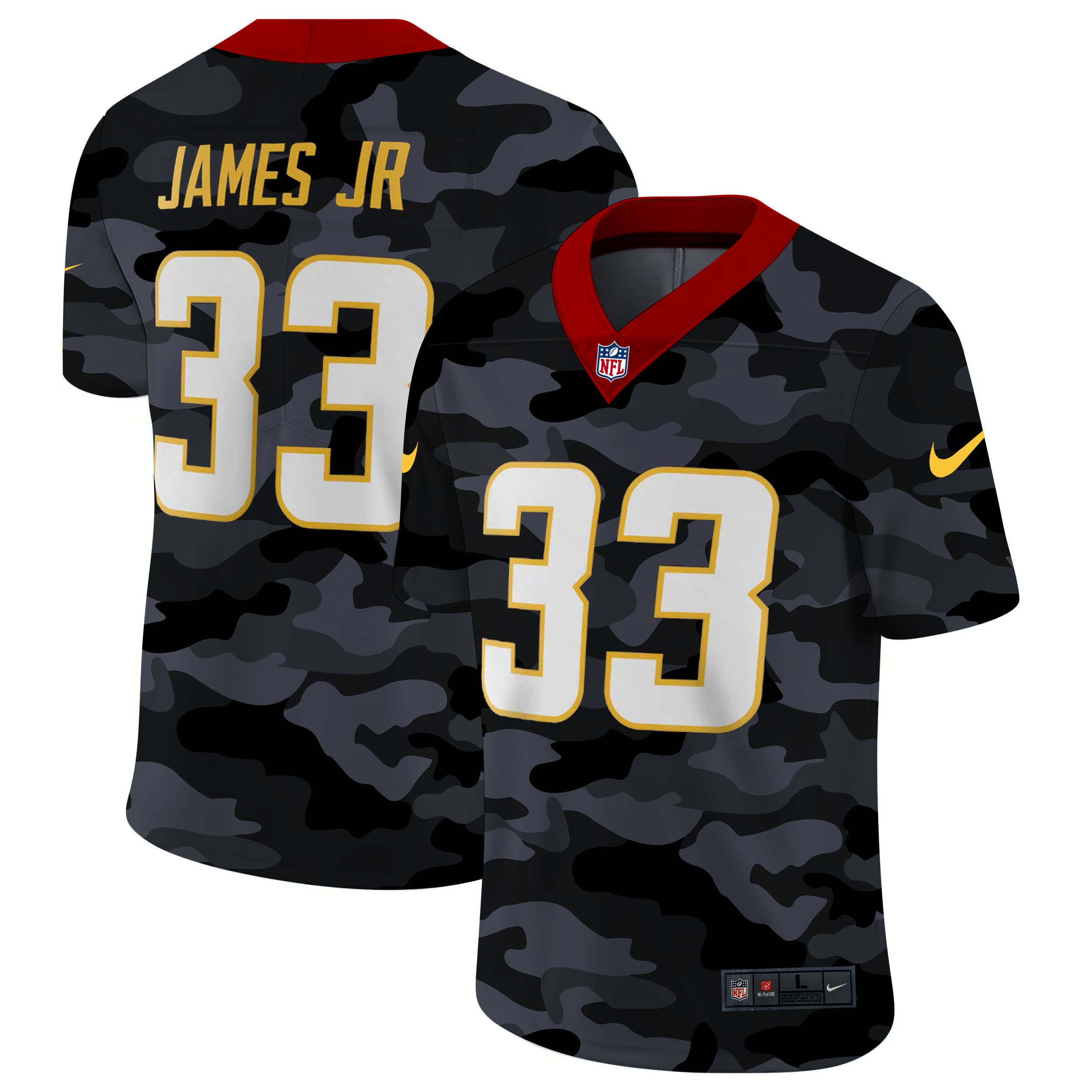 Wholesale Men San Diego Chargers 33 James jr 2020 Nike 2ndCamo Salute to Service Limited NFL Jerseys