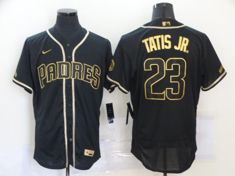 Cheap Men San Diego Padres 23 Tatis jr Black Nike Elite MLB Jerseys