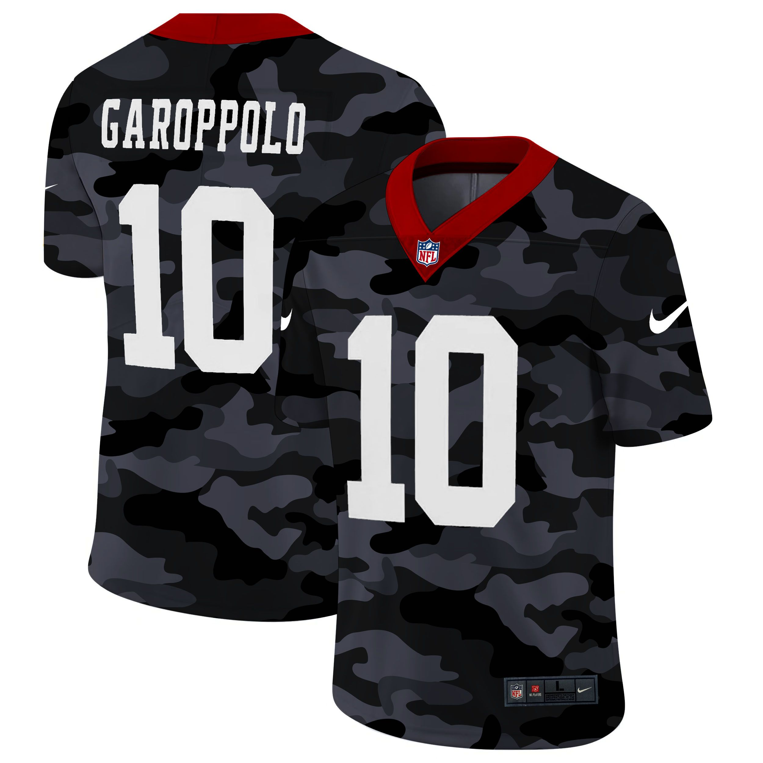 Wholesale Men San Francisco 49ers 10 Garoppolo 2020 Nike Camo Salute to Service Limited NFL Jerseys