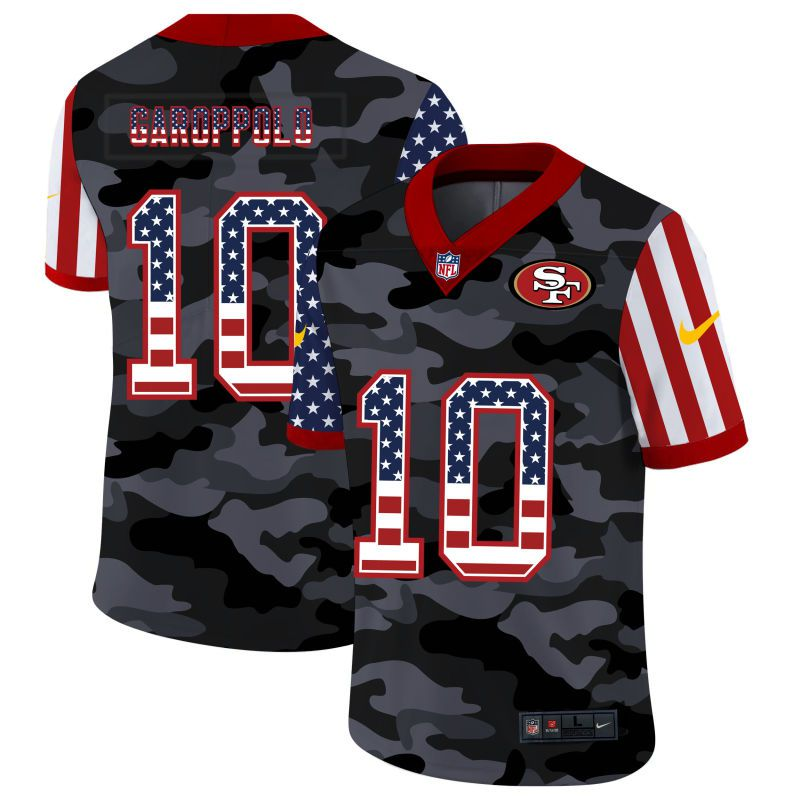 Wholesale Men San Francisco 49ers 10 Garoppolo 2020 Nike USA Camo Salute to Service Limited NFL Jerseys