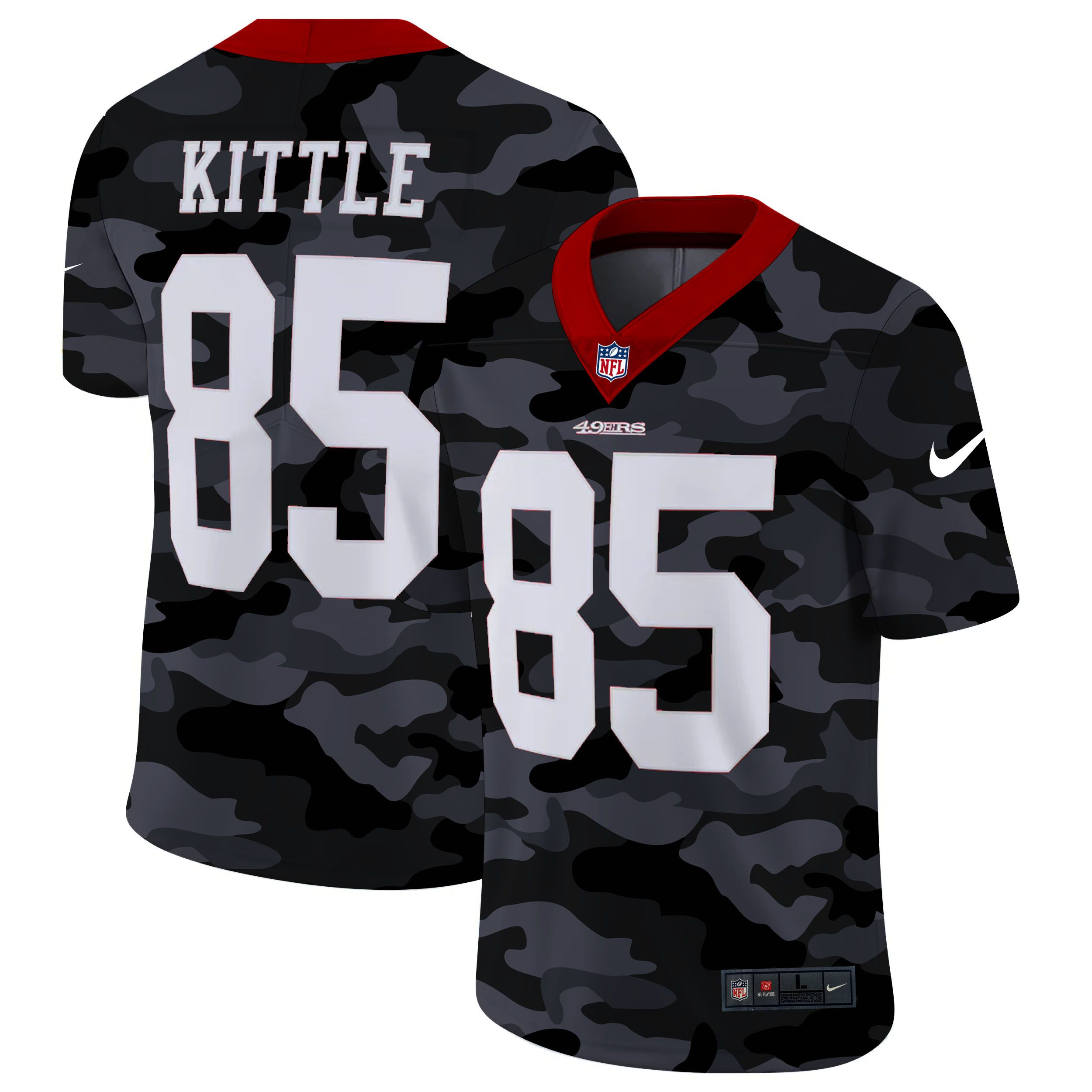 Wholesale Men San Francisco 49ers 85 Kittle 2020 Nike Camo Salute to Service Limited NFL Jerseys