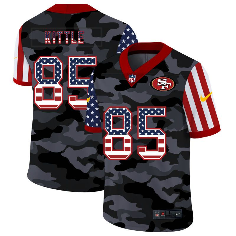 Wholesale Men San Francisco 49ers 85 Kittle 2020 Nike USA Camo Salute to Service Limited NFL Jerseys