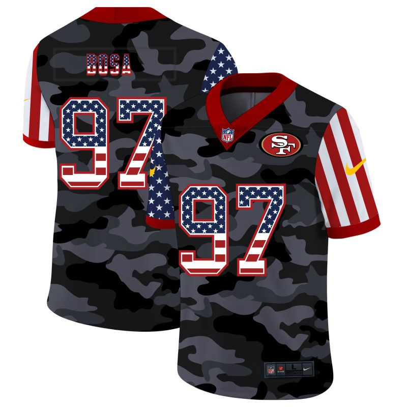 Cheap Men San Francisco 49ers 97 Bosa 2020 Nike USA Camo Salute to Service Limited NFL Jerseys