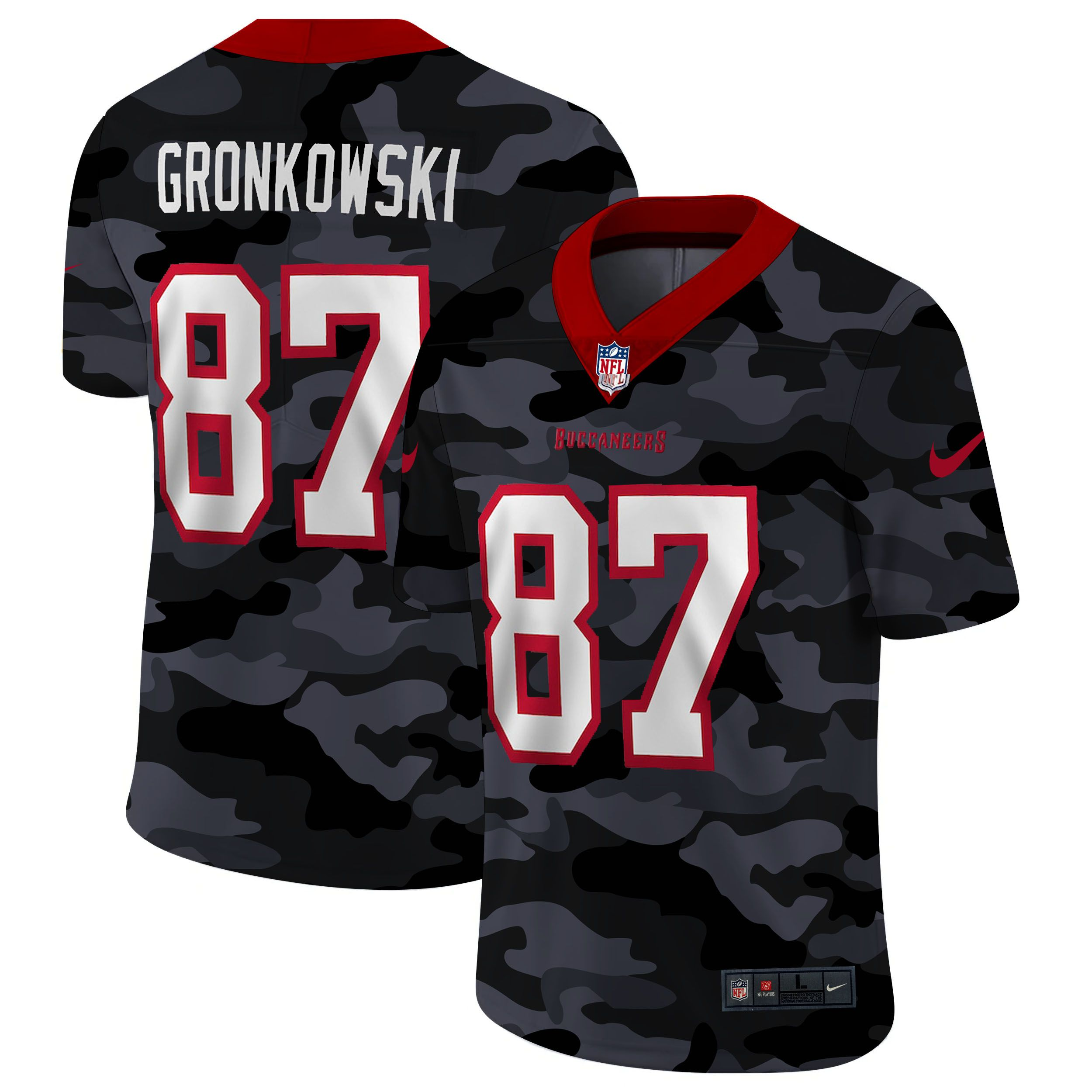 Wholesale Men Tampa Bay Buccaneers 87 Gronkowski 2020 Nike Camo Salute to Service Limited NFL Jerseys