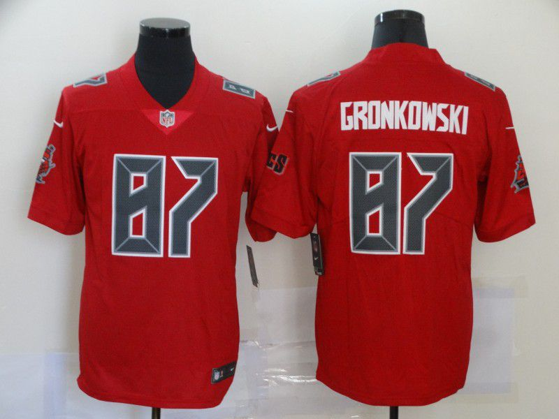 Wholesale Men Tampa Bay Buccaneers 87 Gronkowski Red 2020 Vapor Untouchable Limited Playe Nike NFL Jerseys