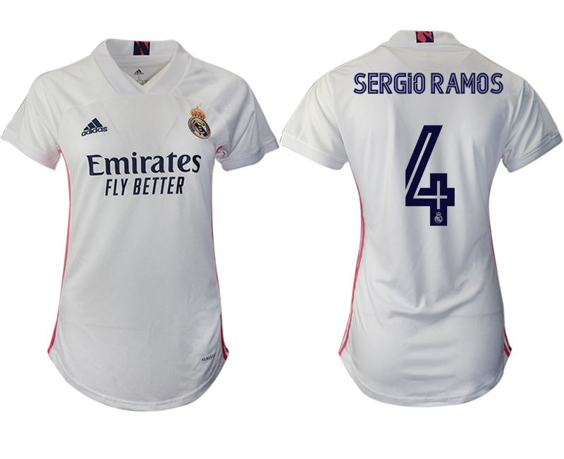 Cheap Women 2020-2021 Real Madrid home aaa version 4 white Soccer Jerseys