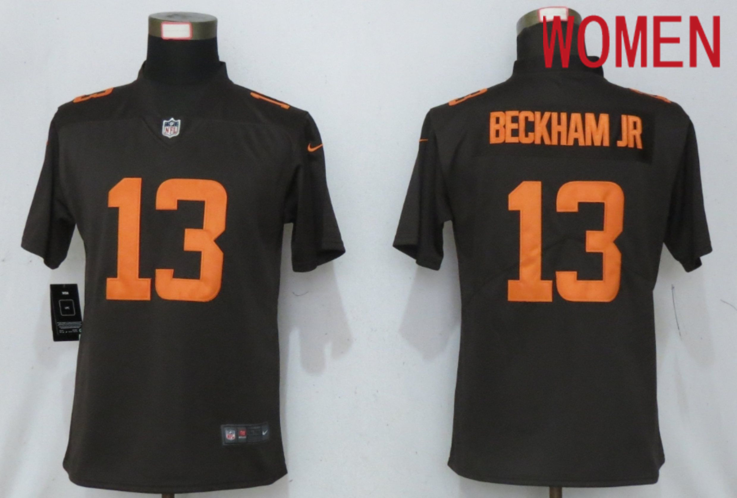 Wholesale Women Cleveland Browns 13 Beckham jr Brown lternate Vapor Elite Playe Nike NFL Jersey