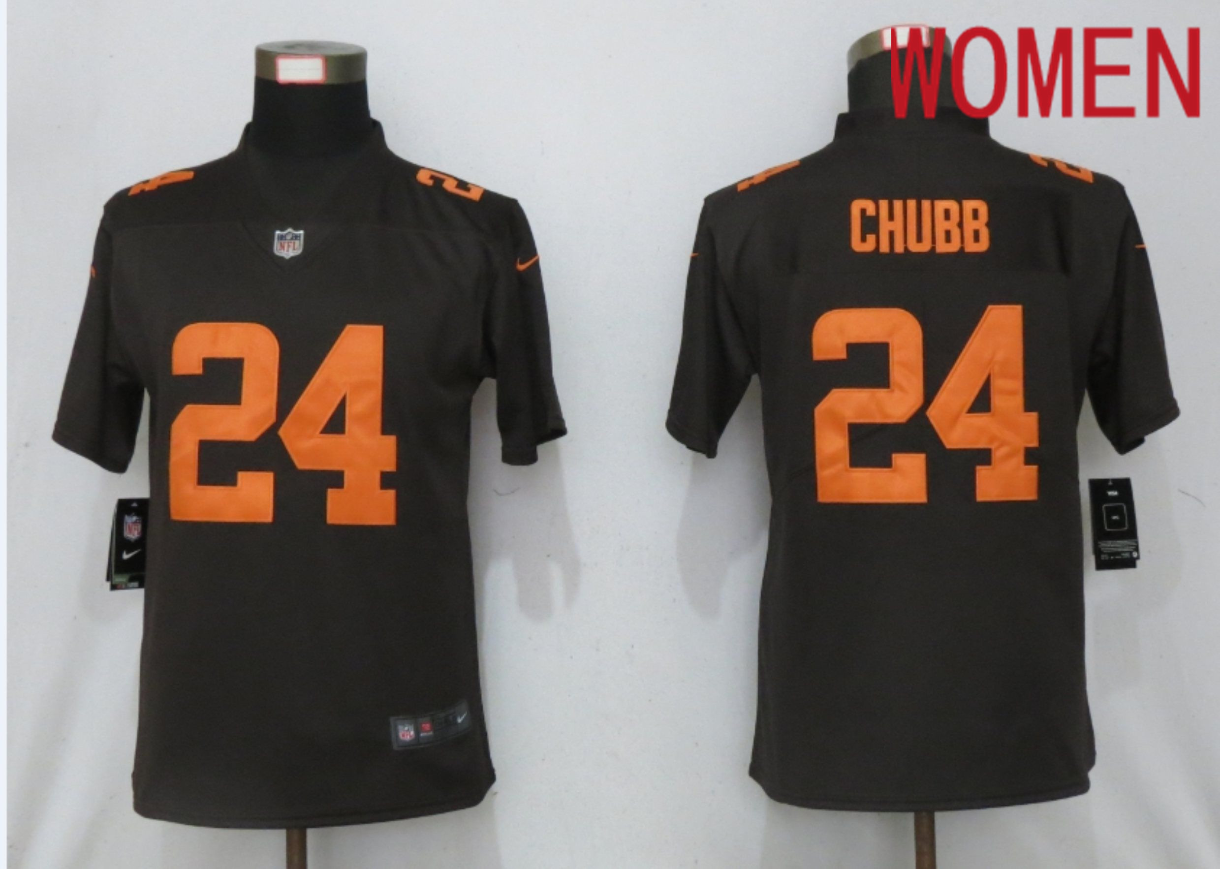 Wholesale Women Cleveland Browns 24 Chubb Brown lternate Vapor Elite Playe Nike NFL Jersey