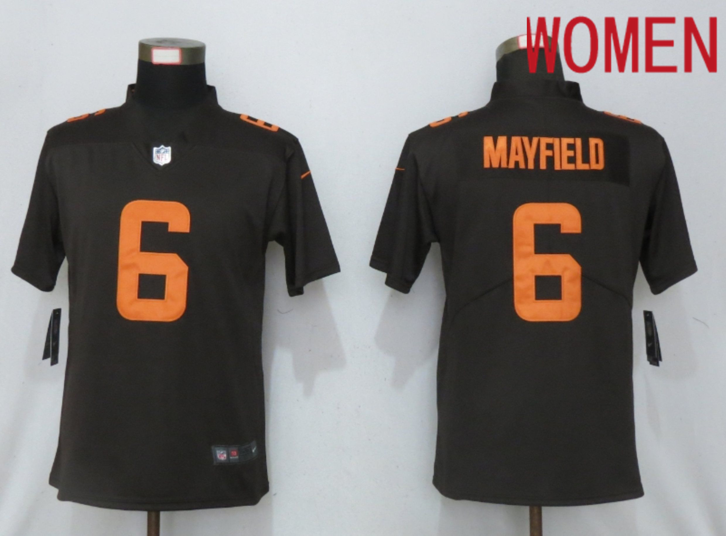 Wholesale Women Cleveland Browns 6 Mayfield Brown lternate Vapor Elite Playe Nike NFL Jersey